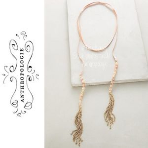 ANTHROPOLOGIE Beaded Suede Wrap Styling Necklace